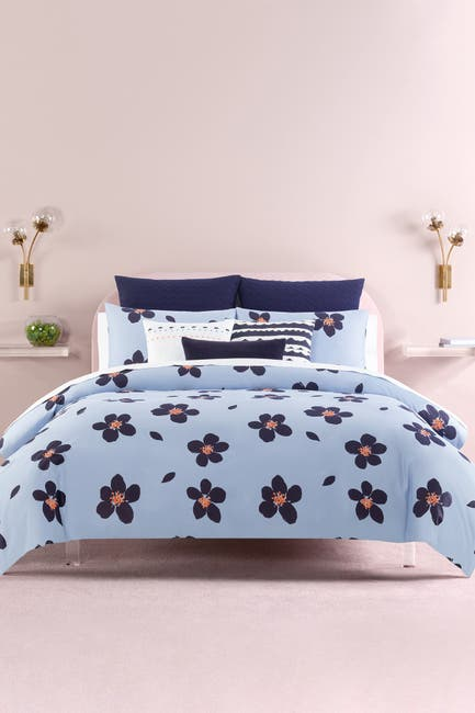 Image of kate spade new york blue grand floral twin duvet cover 2-piece set