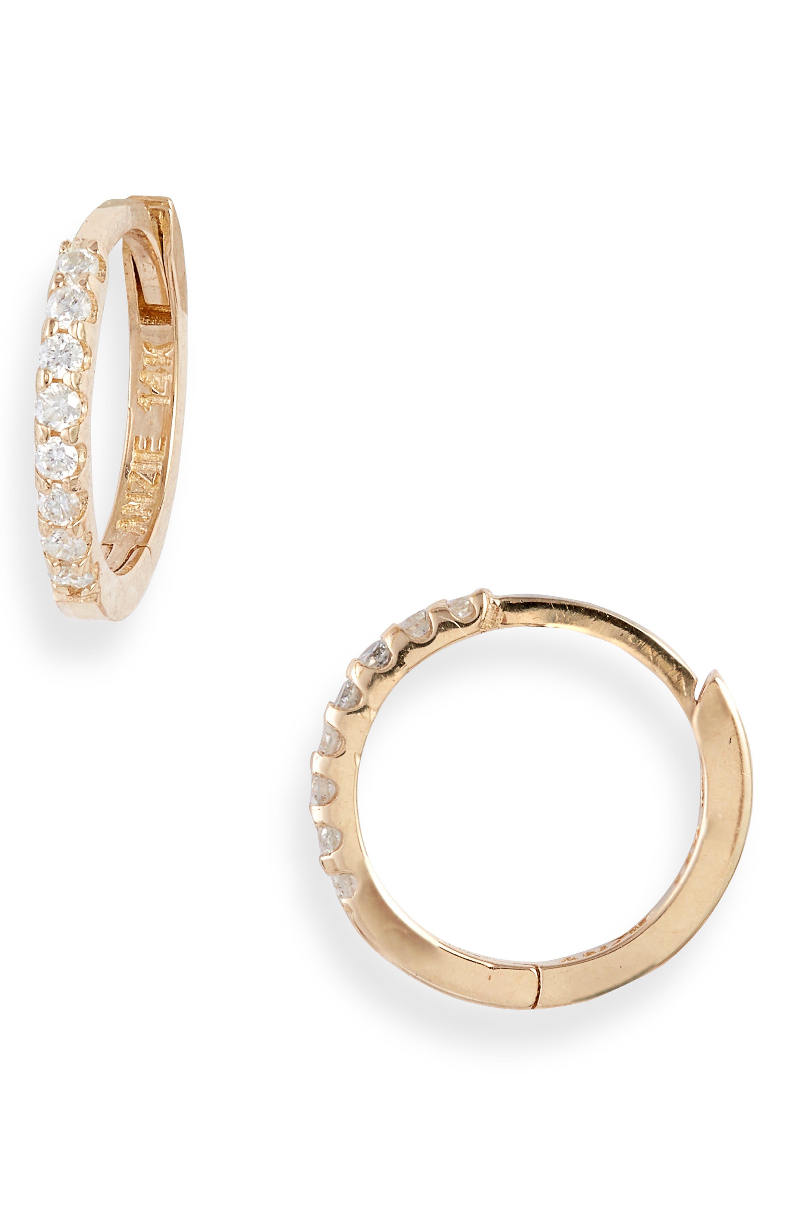 Cleo Mini Pave Diamond Huggie Hoop Earrings