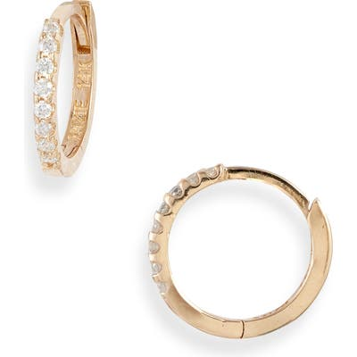 Anzie Cleo Mini Pave Diamond Huggie Hoop Earrings
