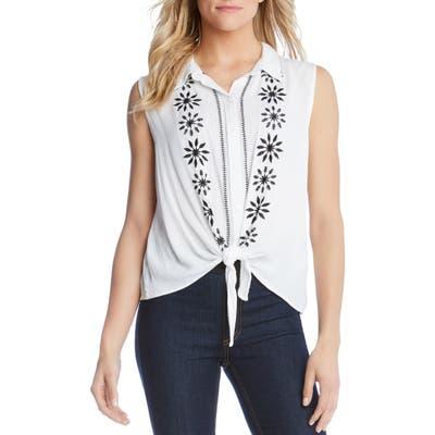 Karen Kane Embroidered Tie Front Top, White