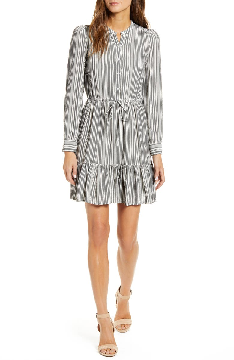 LUCKY BRAND Riley Long Sleeve Shirtdress, Main, color, GREY MULTI