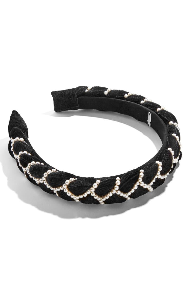 BAUBLEBAR Lane Imitation Pearl Beaded Headband, Main, color, BLACK