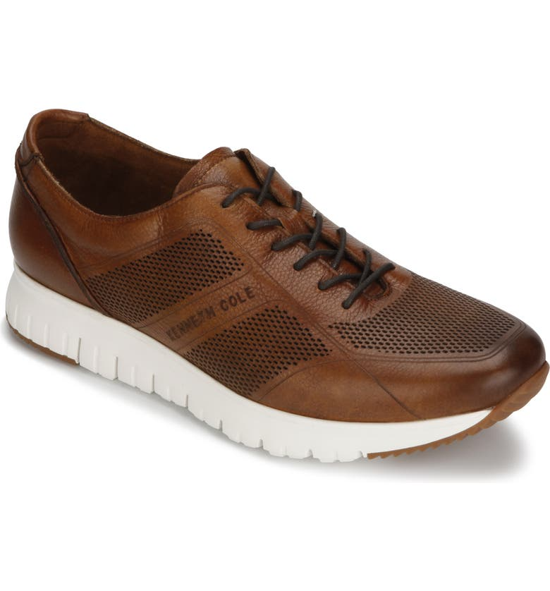 KENNETH COLE NEW YORK Bailey Sneaker, Main, color, COGNAC LASERED LEATHER