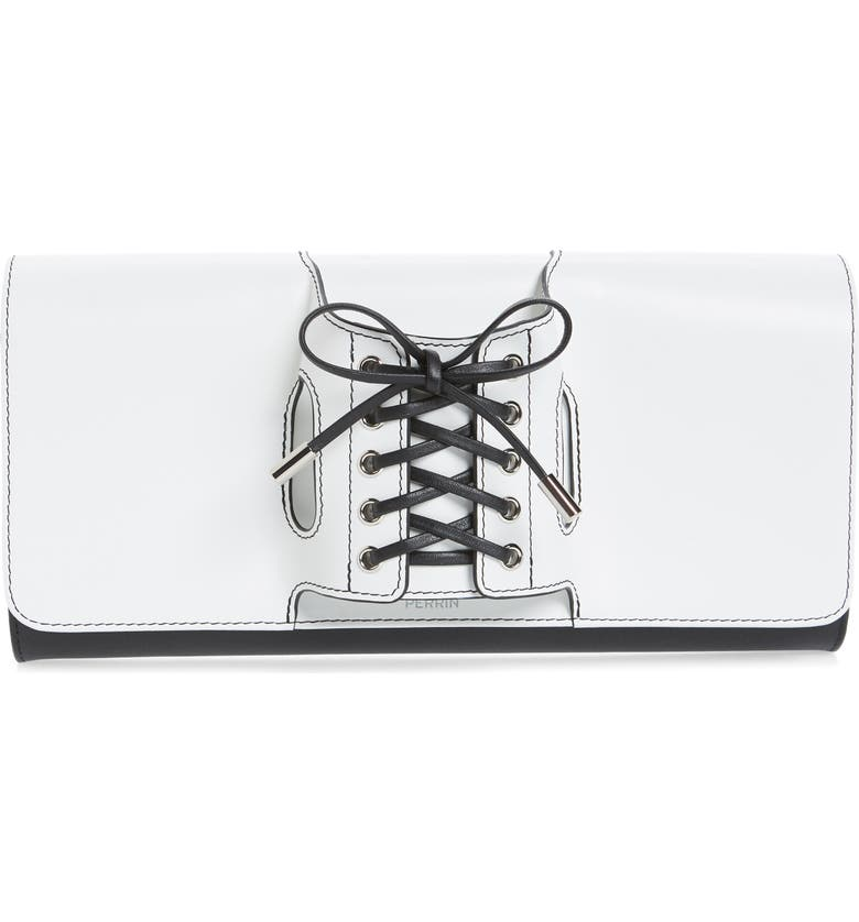 PERRIN Le Corset Leather Clutch, Main, color, 100