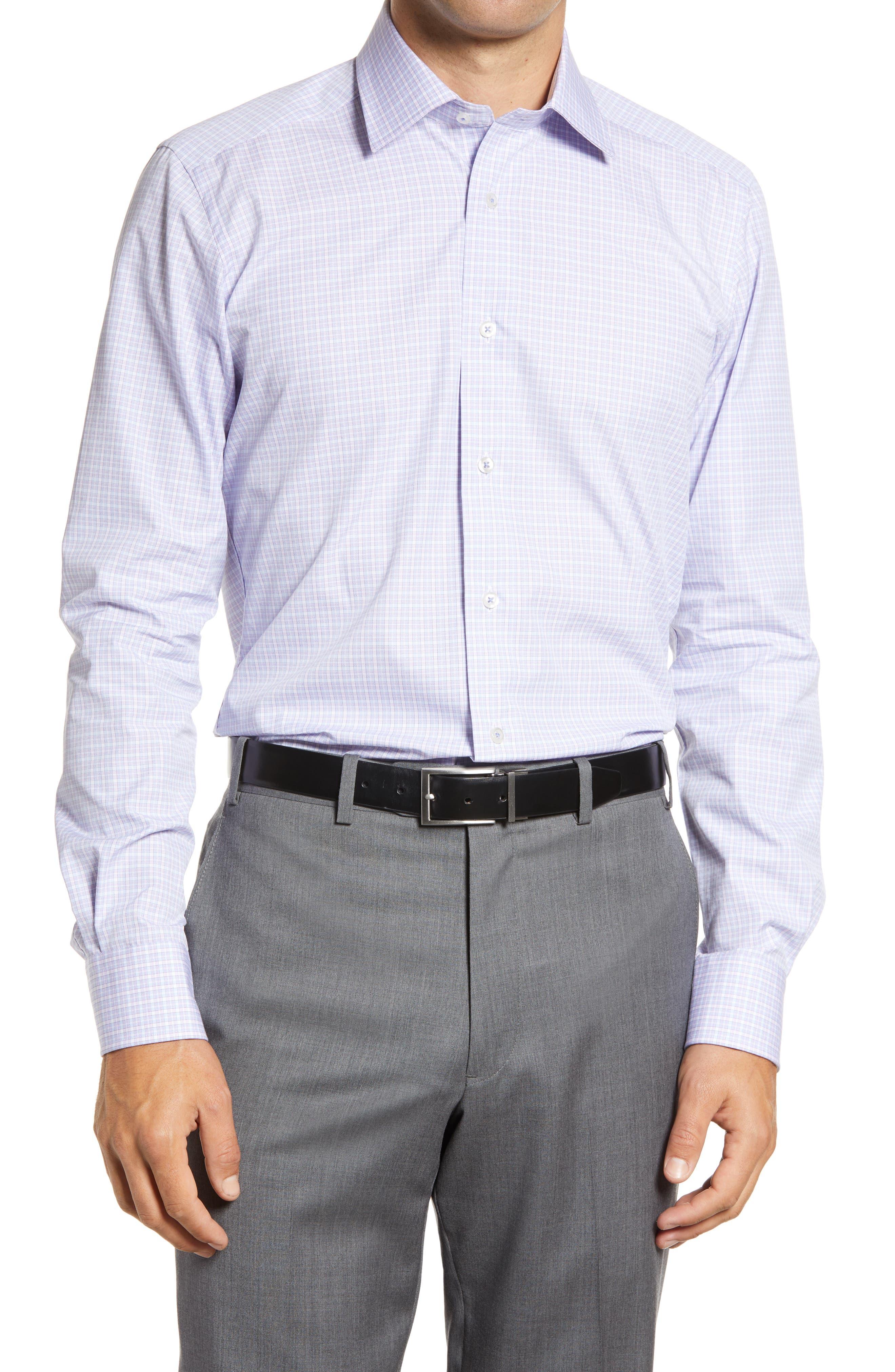 Men's Big & Tall David Donahue Trim Fit Plaid Dress Shirt