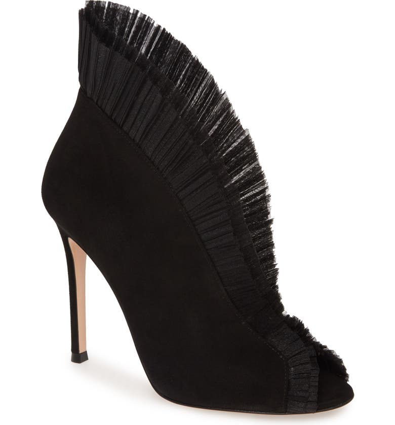 GIANVITO ROSSI Ruffled Tulle Bootie, Main, color, BLACK