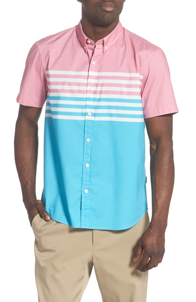 CHUBBIES The Miami Breeze Short Sleeve Button-Down Shirt, Main, color, TURQUOISE/ AQUA