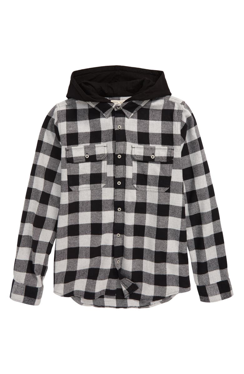 TUCKER + TATE Knit Hooded Flannel Shirt, Main, color, GREY ASH HEATHER BUFFALO