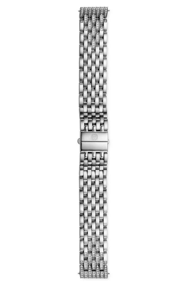 MICHELE 'Deco' 18mm Diamond Bracelet Band, Main, color, SILVER