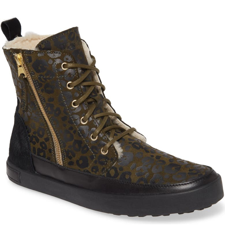 BLACKSTONE 'CW96' Genuine Shearling Lined Sneaker Boot, Main, color, WINTER MOSS LEATHER