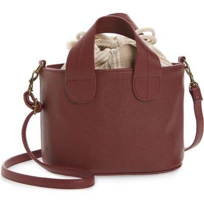 Bp. Mini Leather Crossbody Tote - Brown