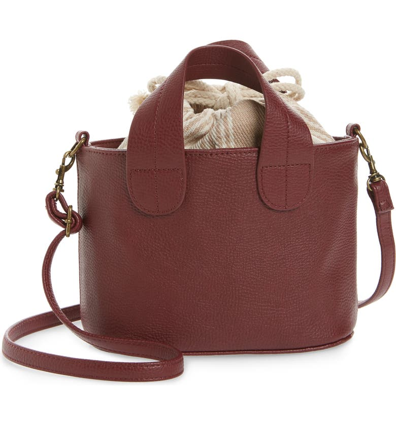 BP. Mini Leather Crossbody Tote, Main, color, RUST CINNABAR
