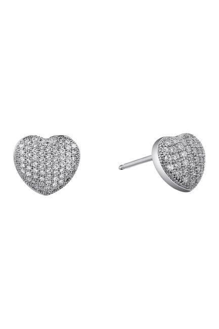 Image of LaFonn Platinum Plated Sterling Silver Simulated Diamond Puffy Heart Earrings