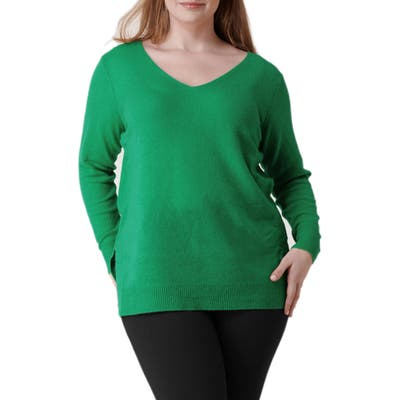 Plus Size Maree Pour Toi Wool & Cashmere Sweater, Green