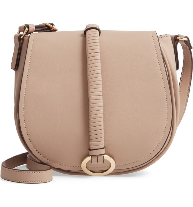 BP. Metal Ring Faux Leather Saddle Bag, Main, color, 250