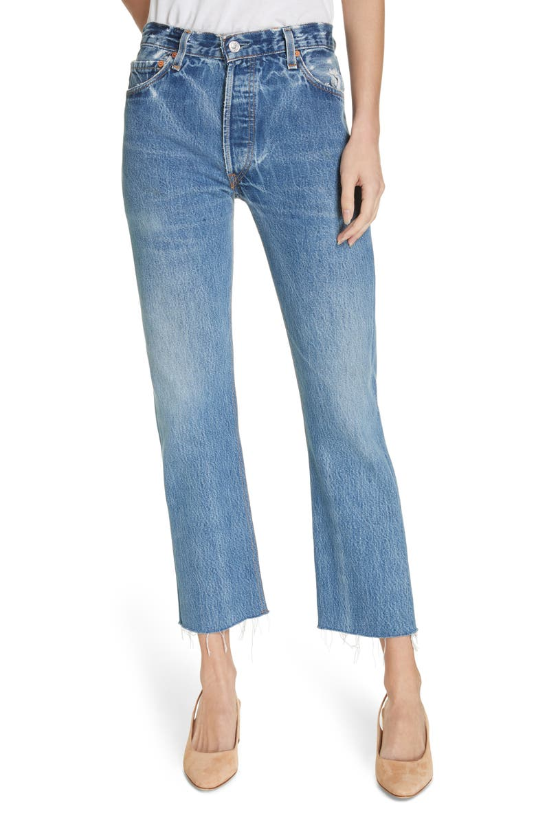 RE/DONE Repurposed High Waist Stovepipe Jeans, Main, color, INDIGO