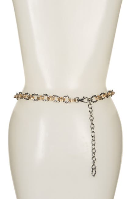 Image of FASHION FOCUS ACCESSORIES Two-Tone Textured Chain Link Belt