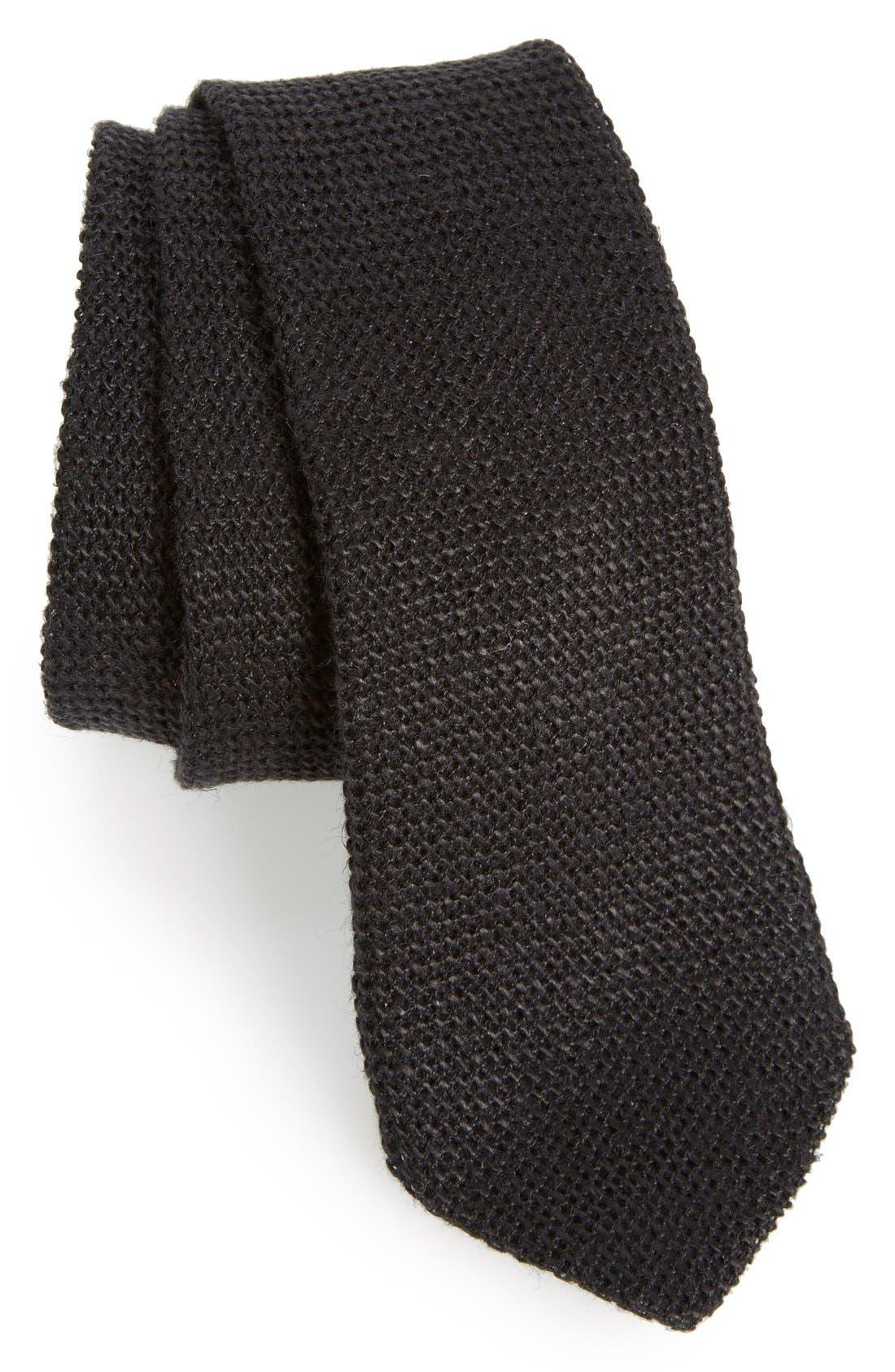 ,                             Knit Linen Tie,                             Main thumbnail 1, color,                             001
