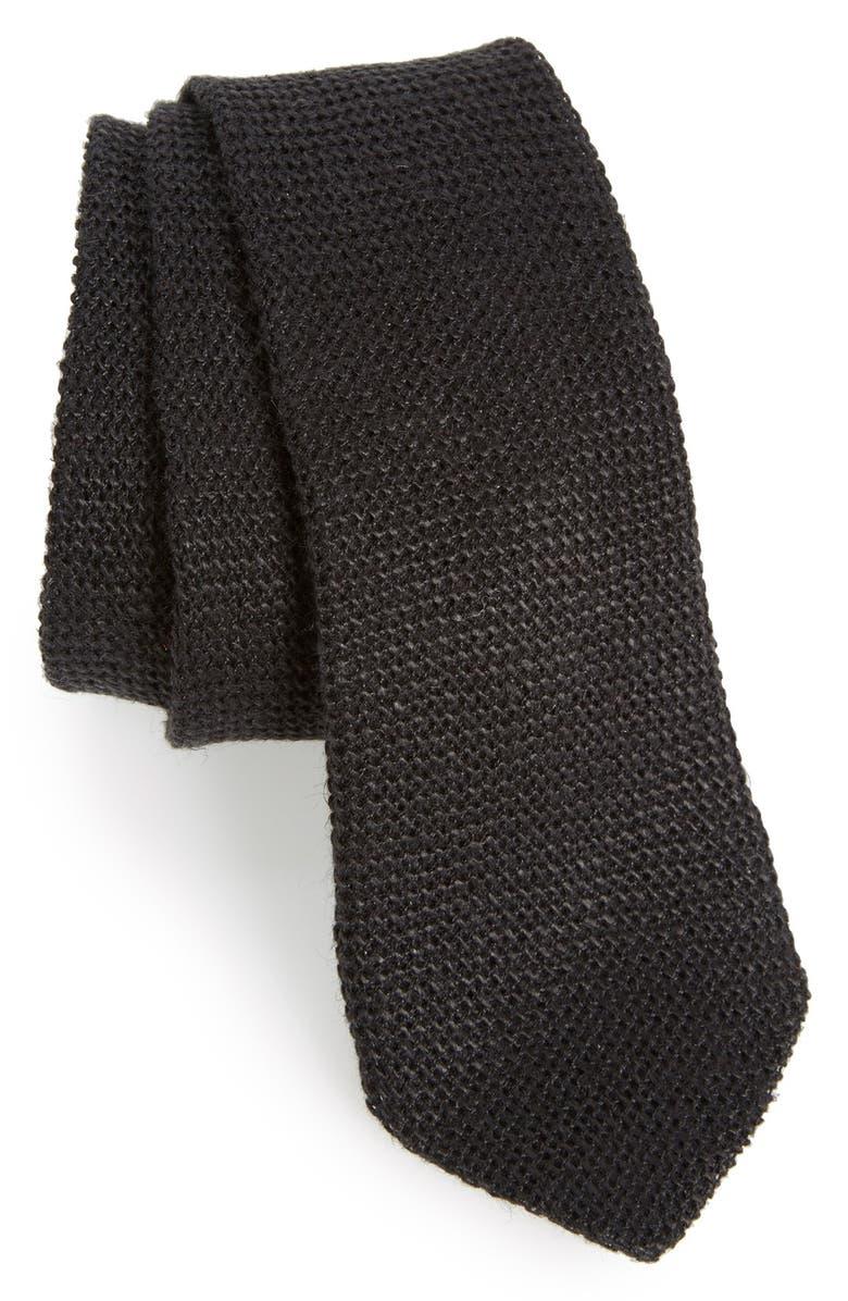 ALEXANDER OLCH Knit Linen Tie, Main, color, 001