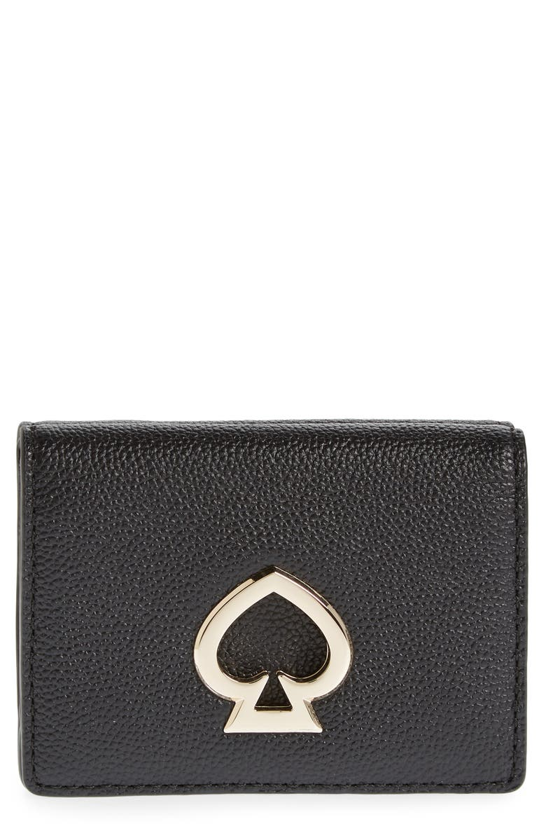 KATE SPADE NEW YORK mini suzy trifold leather wallet, Main, color, 001