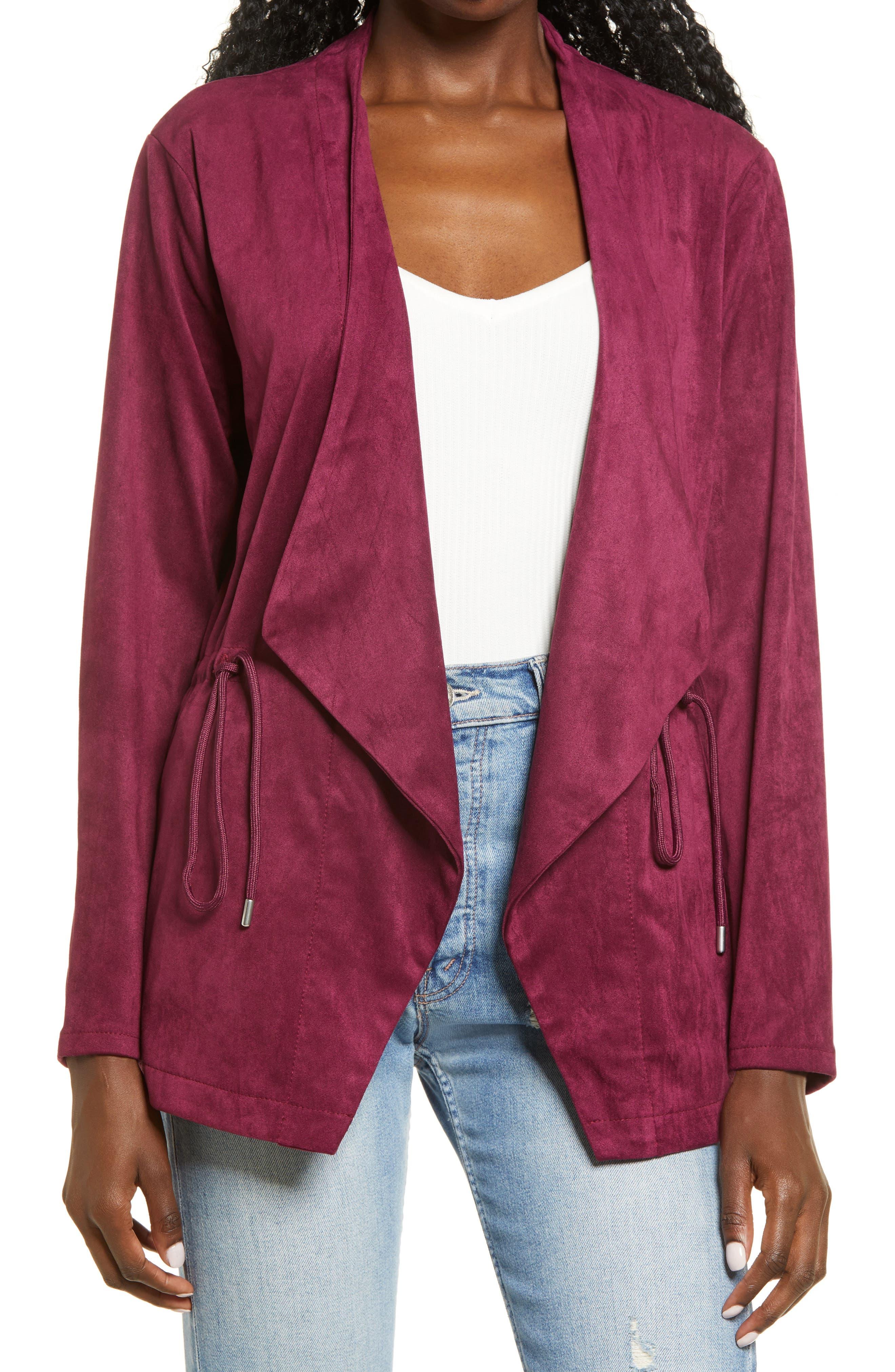 Women's Blanknyc Faux Suede Drapey Jacket, Size Medium - Pink