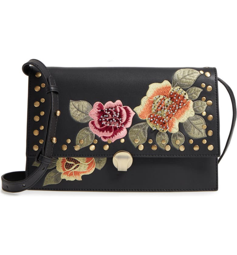 TOPSHOP Robyn Floral Faux Leather Crossbody Bag, Main, color, 001