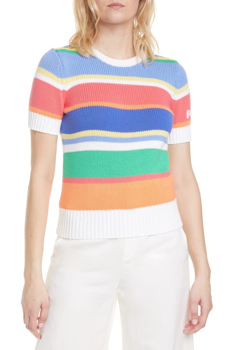 POLO RALPH LAUREN Stripe Short Sleeve Cotton Sweater, Main, color, MULTI