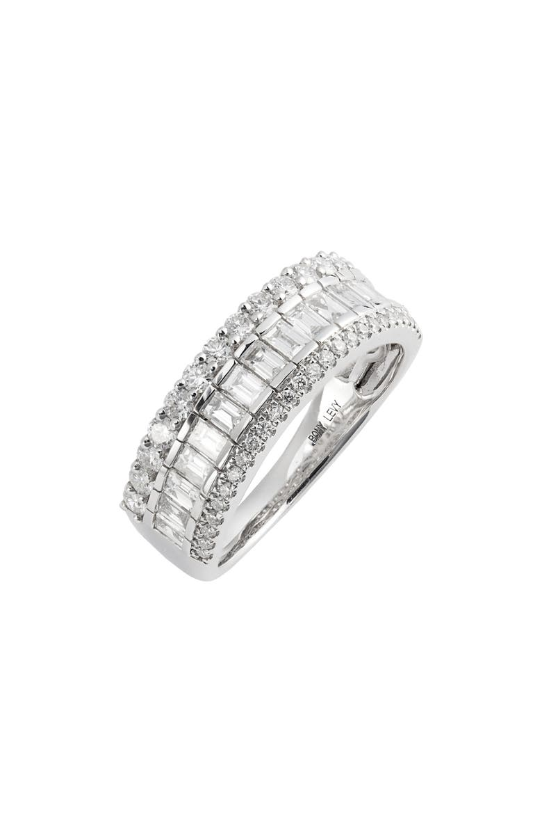 BONY LEVY Gatsby Mixed Diamond Wide Band Ring, Main, color, WHITE GOLD/ DIAMOND