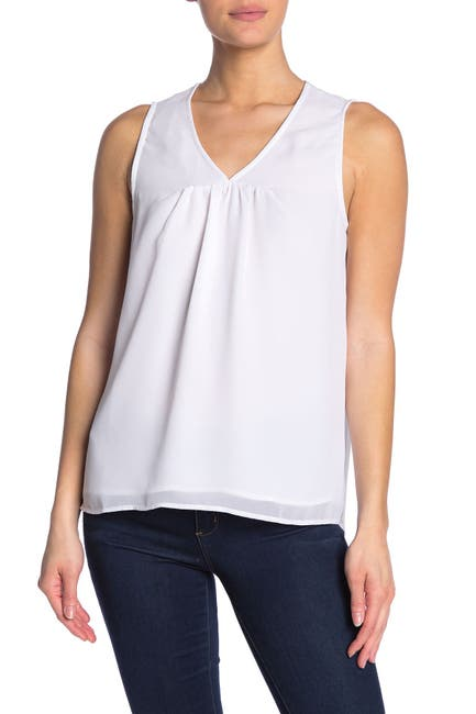 Image of Pleione Solid V-Neck Sleeveless Top