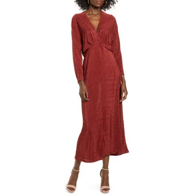 All In Favor Textured Long Sleeve Dress, Brown