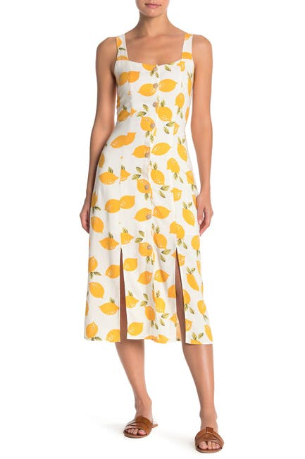 Image of MELLODAY Lemon Print Smocked Back Dress