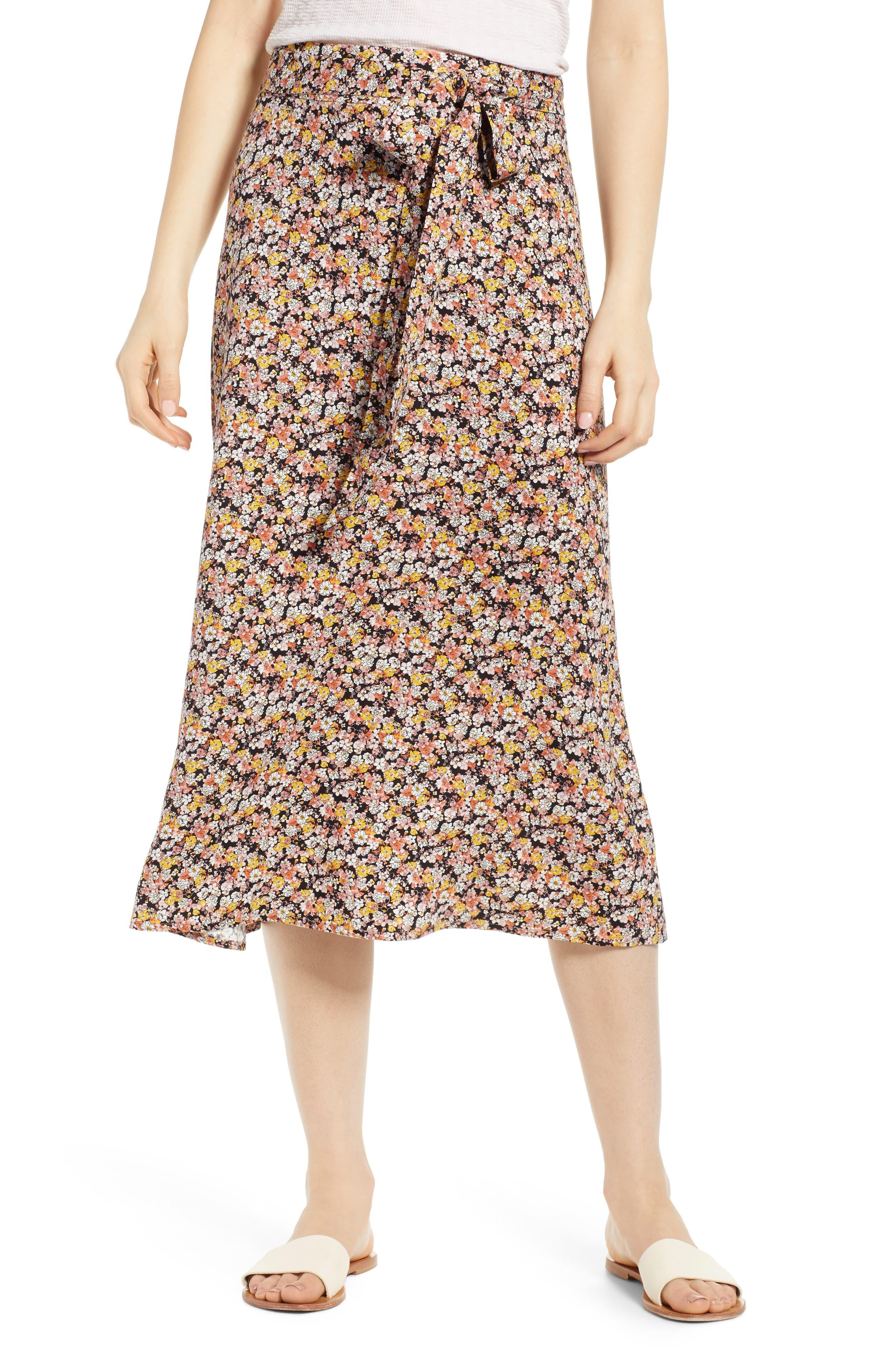 Tie Waist Floral Print Midi Skirt, Main, color, BLACK DITSY FLORAL