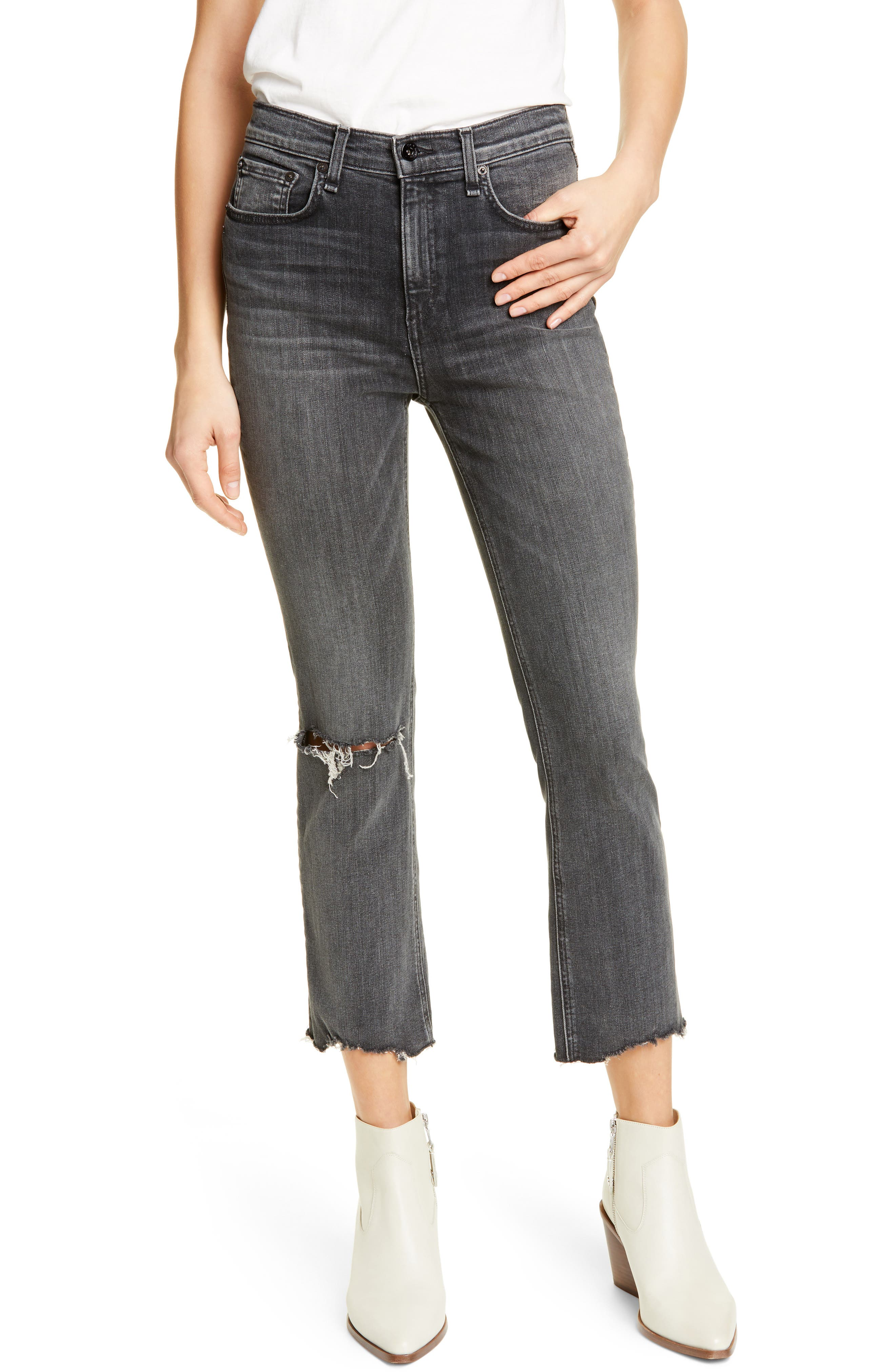Nina Ankle Flare Jeans, Main, color, 001