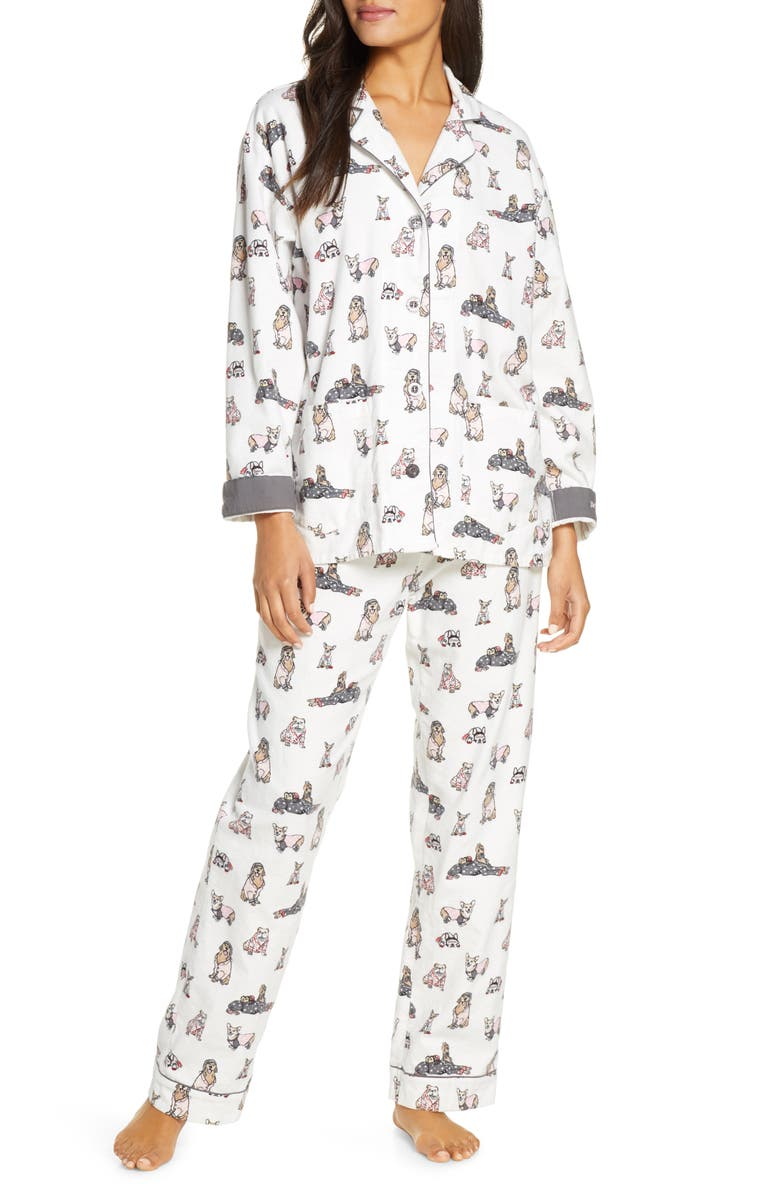 PJ SALVAGE Print Flannel Pajamas, Main, color, IVORY