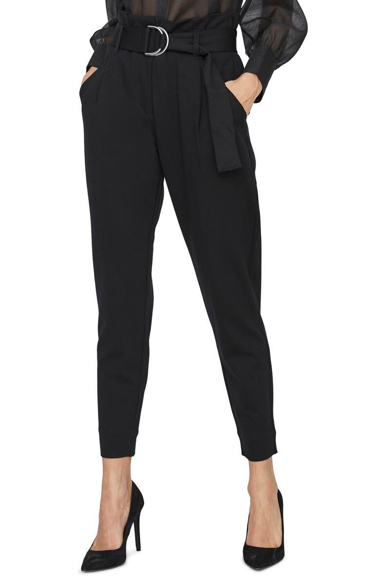 VERO MODA Bailey Belted Pants, Main, color, BLACK