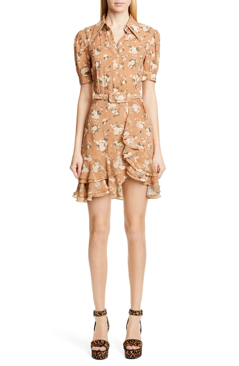 MICHAEL KORS COLLECTION Michael Kors French Floral Print Tiered Ruffle Shirtdress, Main, color, SUNTAN/ IVORY