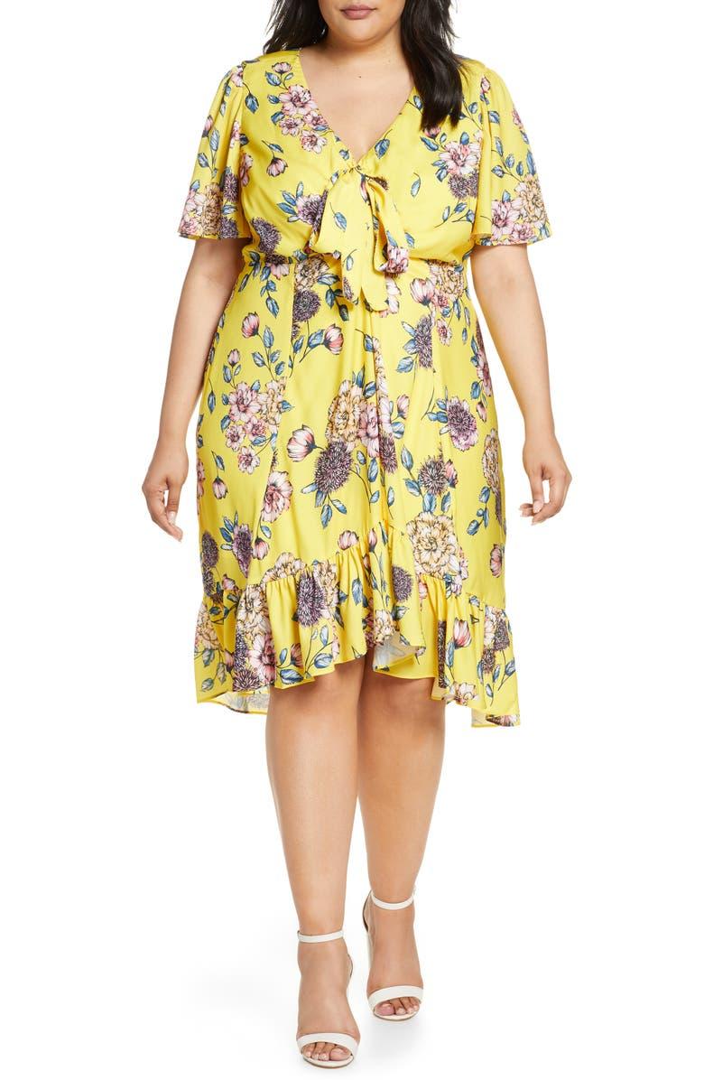 MARÉE POUR TOI Floral Print Ruffle Dress, Main, color, YELLOW