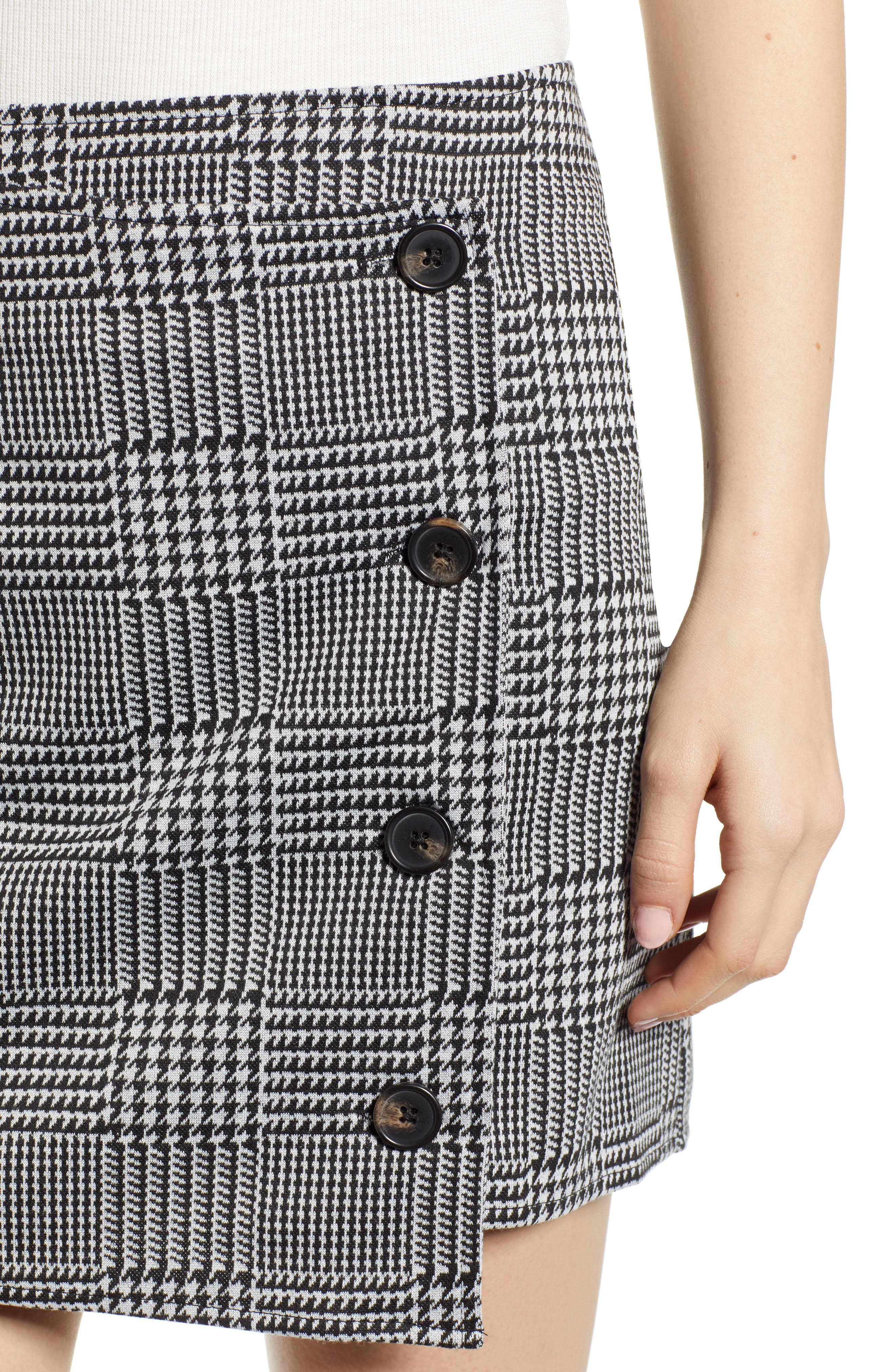 ,                             Houndstooth Check Button Wrap Skirt,                             Alternate thumbnail 4, color,                             PLAID