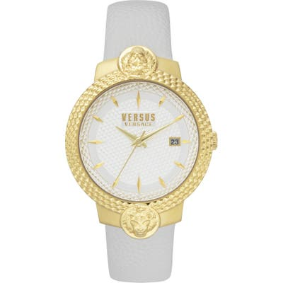 Versus Versace Mouffetard Leather Strap Watch,