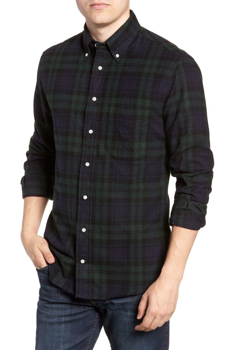 GITMAN Blackwatch Plaid Flannel Shirt, Main, color, 001