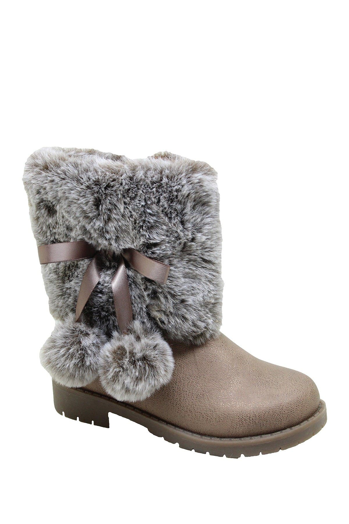 Image of Nicole Miller Faux Fur Trimmed Pompom Boot