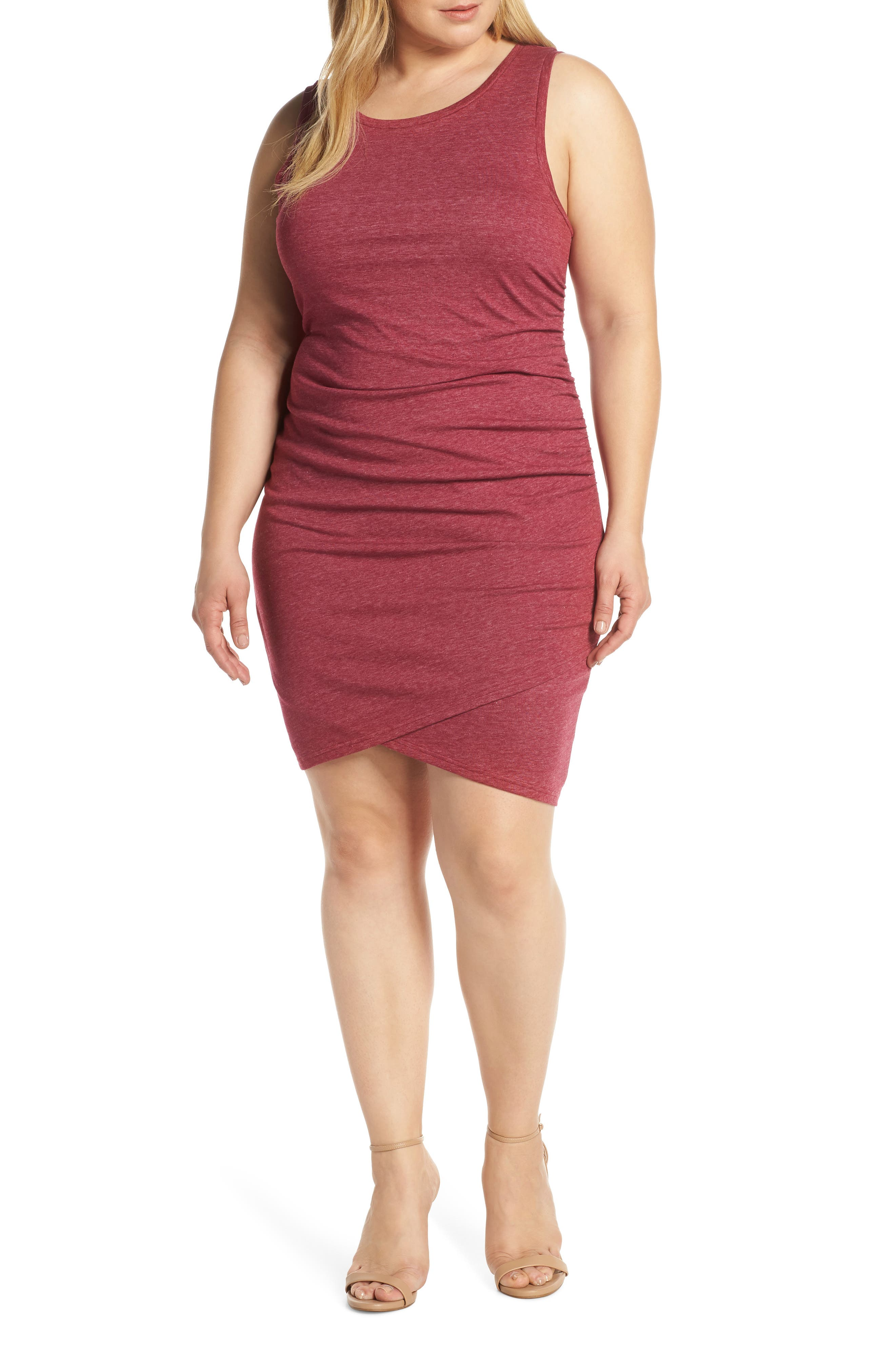 Plus Size Leith Ruched Sheath Dress, Burgundy