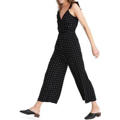 Madewell Ruffle Front Wrap Jumpsuit In Grid Dot, Black