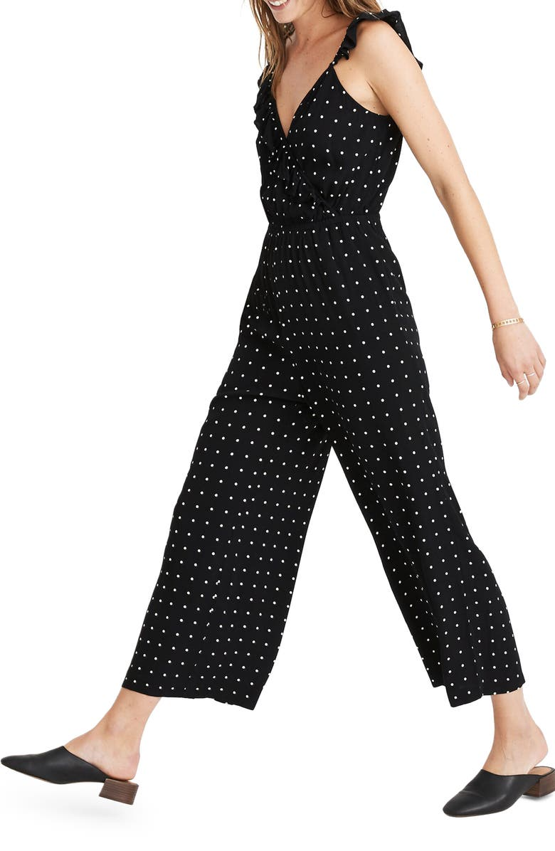 MADEWELL Ruffle Front Wrap Jumpsuit in Grid Dot, Main, color, 009
