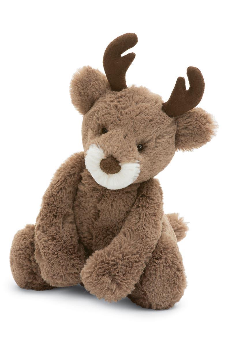 JELLYCAT Medium Bashful Reindeer Stuffed Animal, Main, color, BROWN