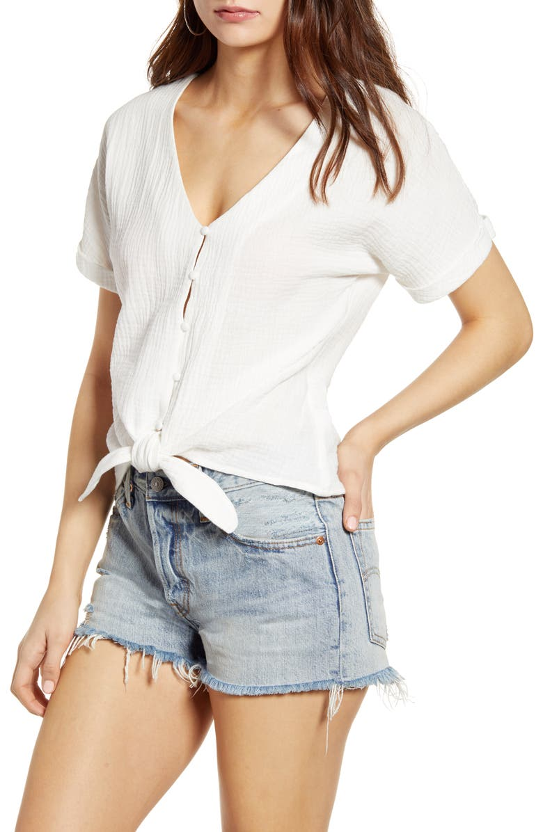 Tie Hem Gauze Top by Socialite