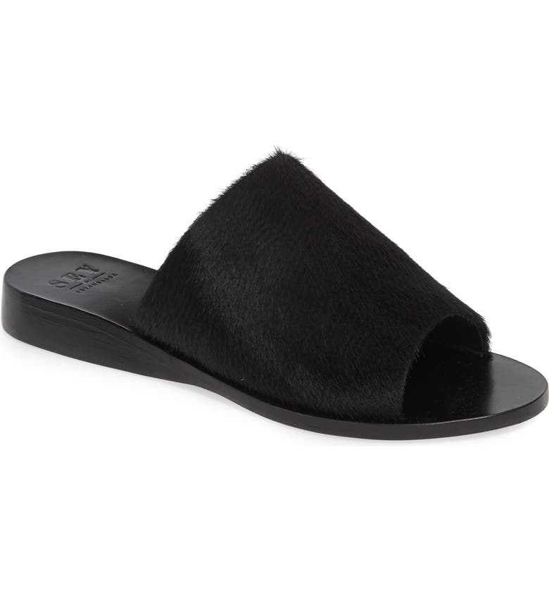 SEYCHELLES Stanza Genuine Calf Hair Slide Sandal, Main, color, BLACK CALF HAIR