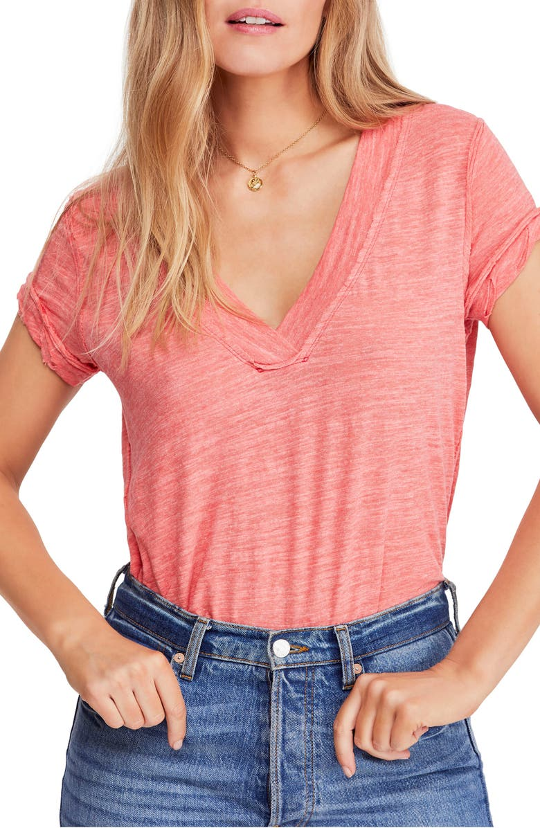 FREE PEOPLE V-Neck Tee, Main, color, 600
