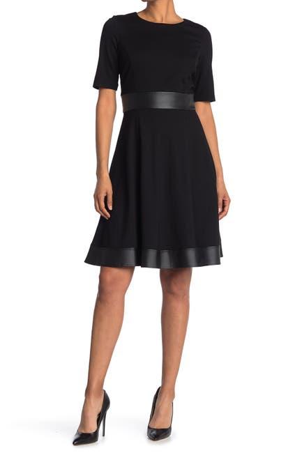 Image of Sandra Darren Scuba Crepe Faux Leather Paneled Dress