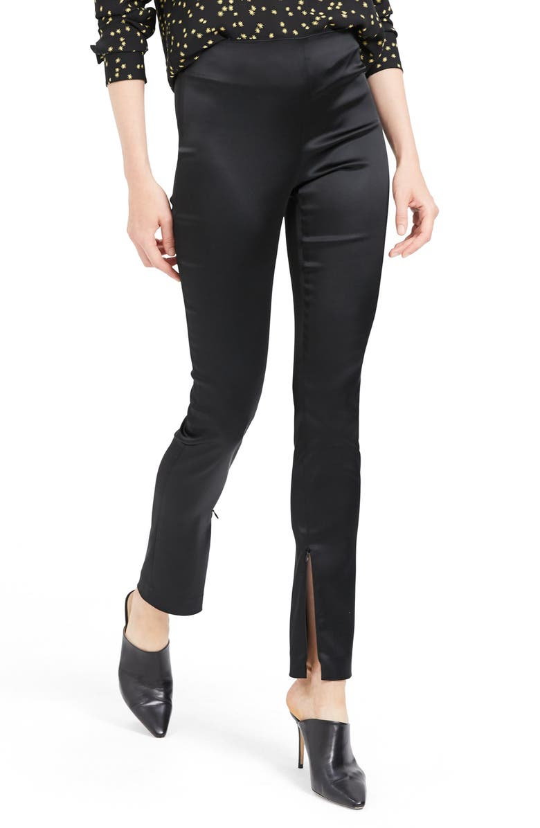 THEORY Zip Cuff Skinny Pants, Main, color, BLACK